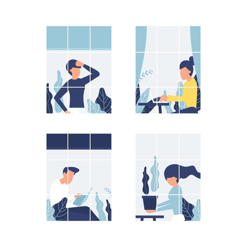 Menschen in Fenstern bleiben wegen Quarantäne zu Hause vektor