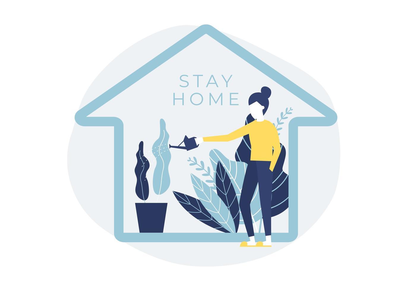 kvinna vattning hus växter vektor