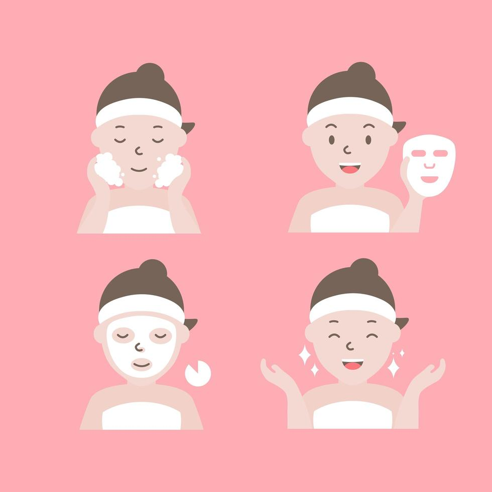 hur man applicerar ansiktsmasksteg vektor