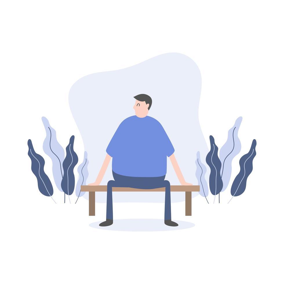 man karaktär sitter på bänken i park vektor