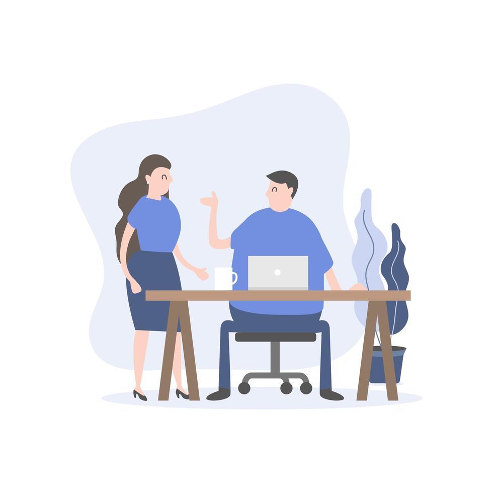 man och kvinna personal som talar vid skrivbordet vektor