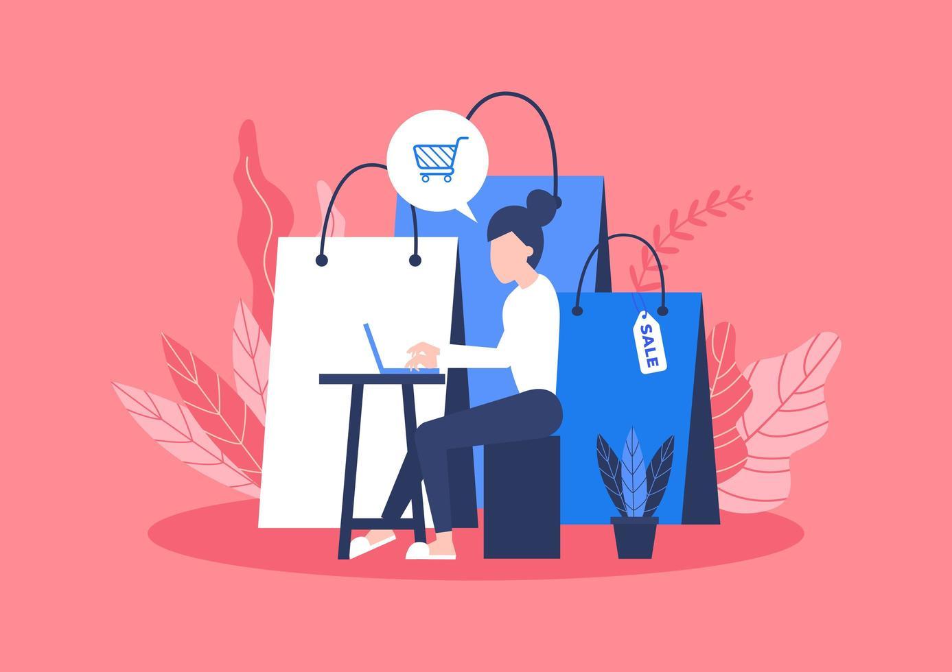 kvinnasammanträde med påse med varor från online-shopping vektor