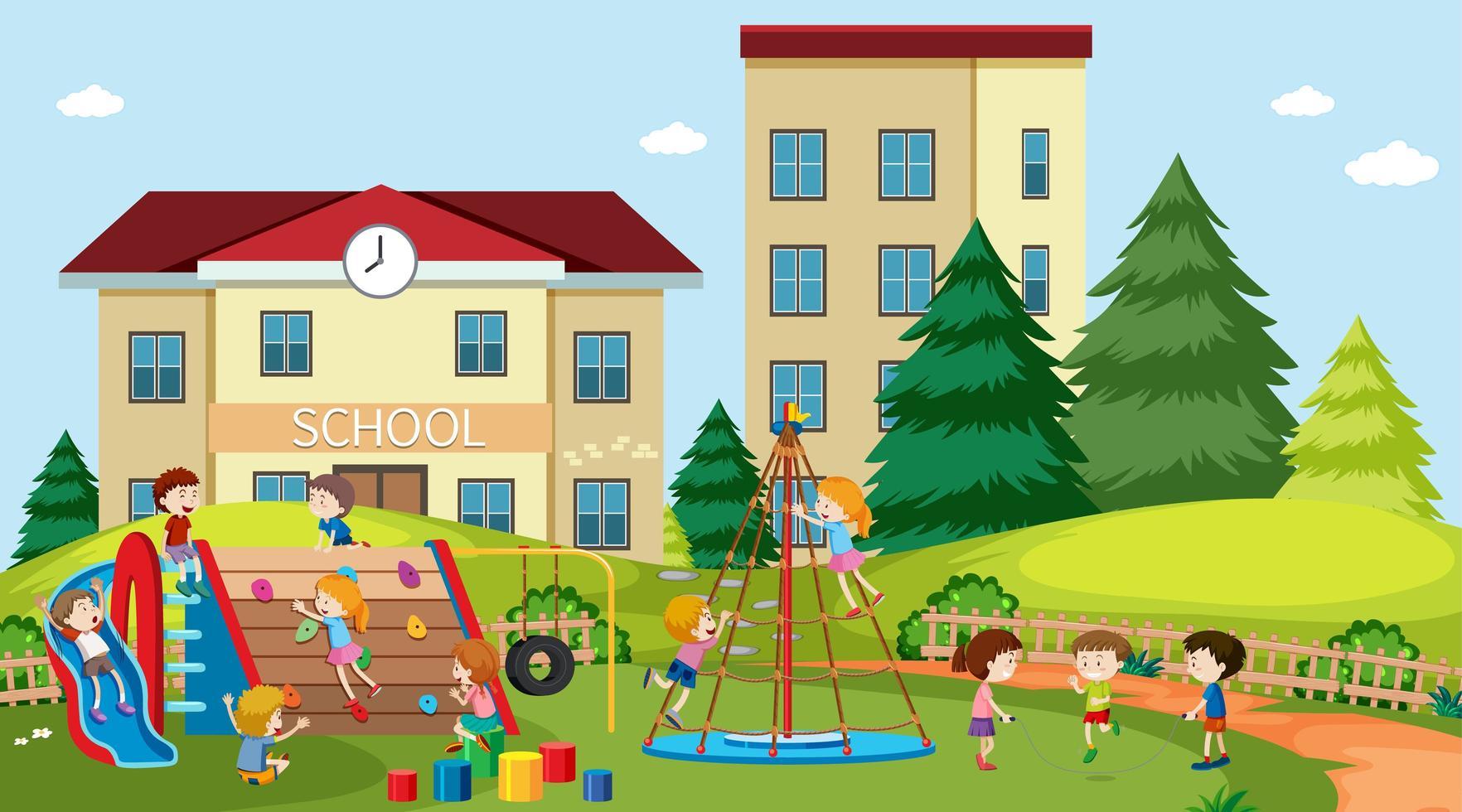 aktive Jungen und Mädchen, die draußen in der Schule spielen vektor