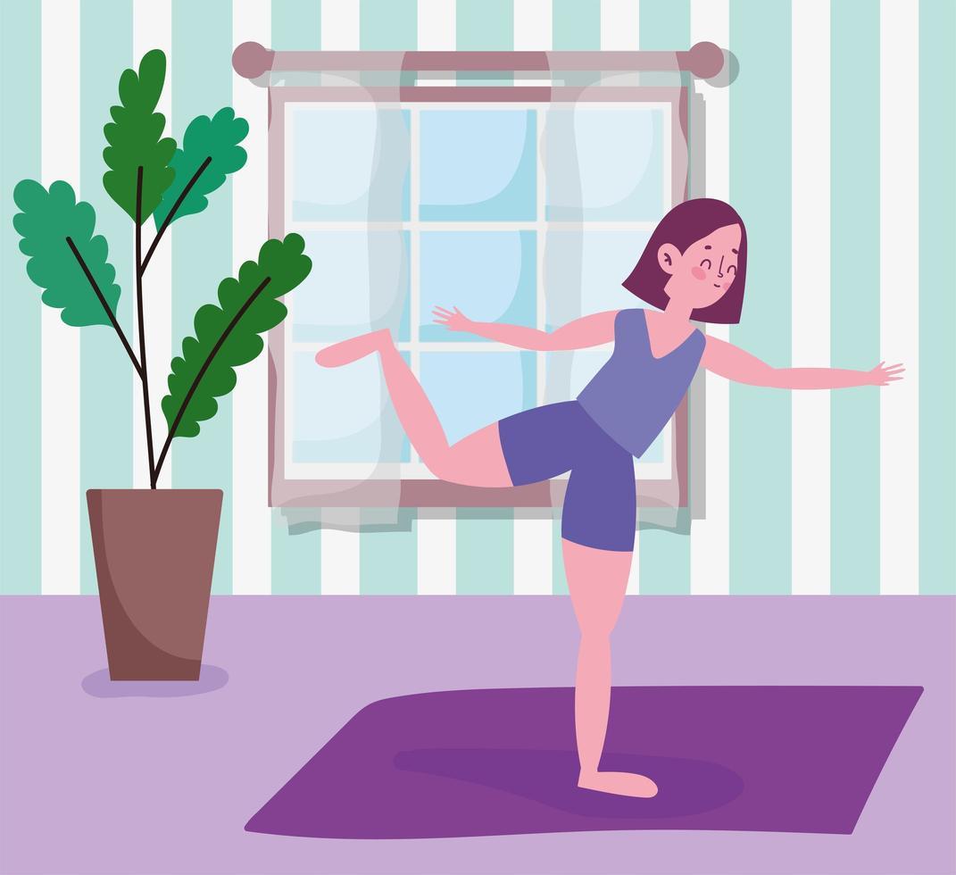 junge Frau, die Yoga auf Matte praktiziert vektor