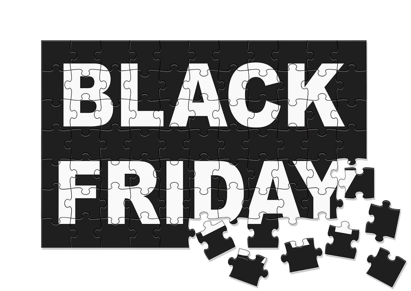 schwarzer Freitag Verkauf Puzzleteile Design vektor