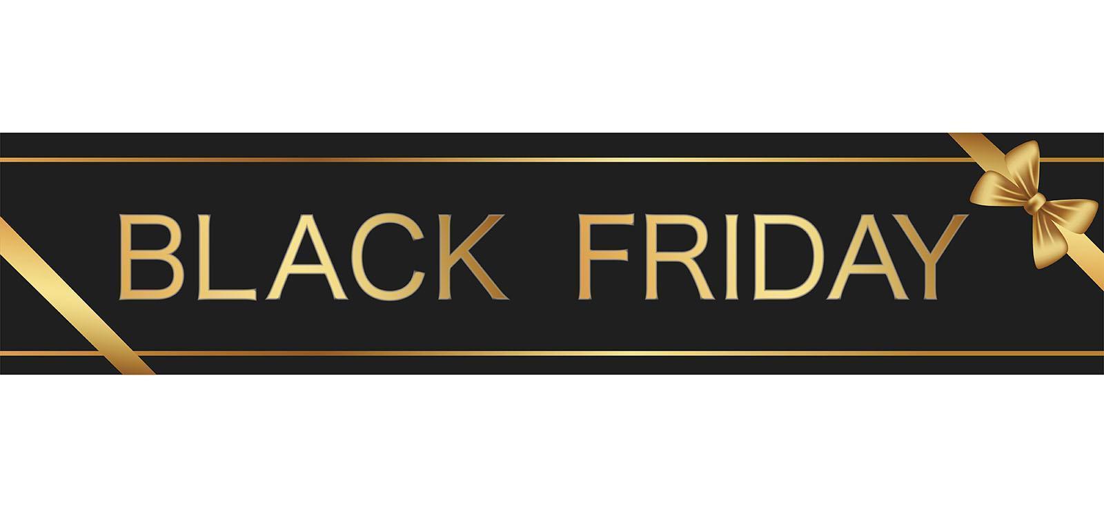 svart fredag försäljning tecken med guld band vektor