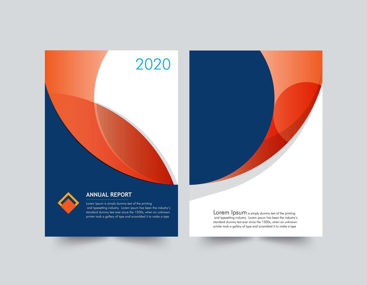 Jährliche Berichtsvorlage für orange und blaue Formen vektor