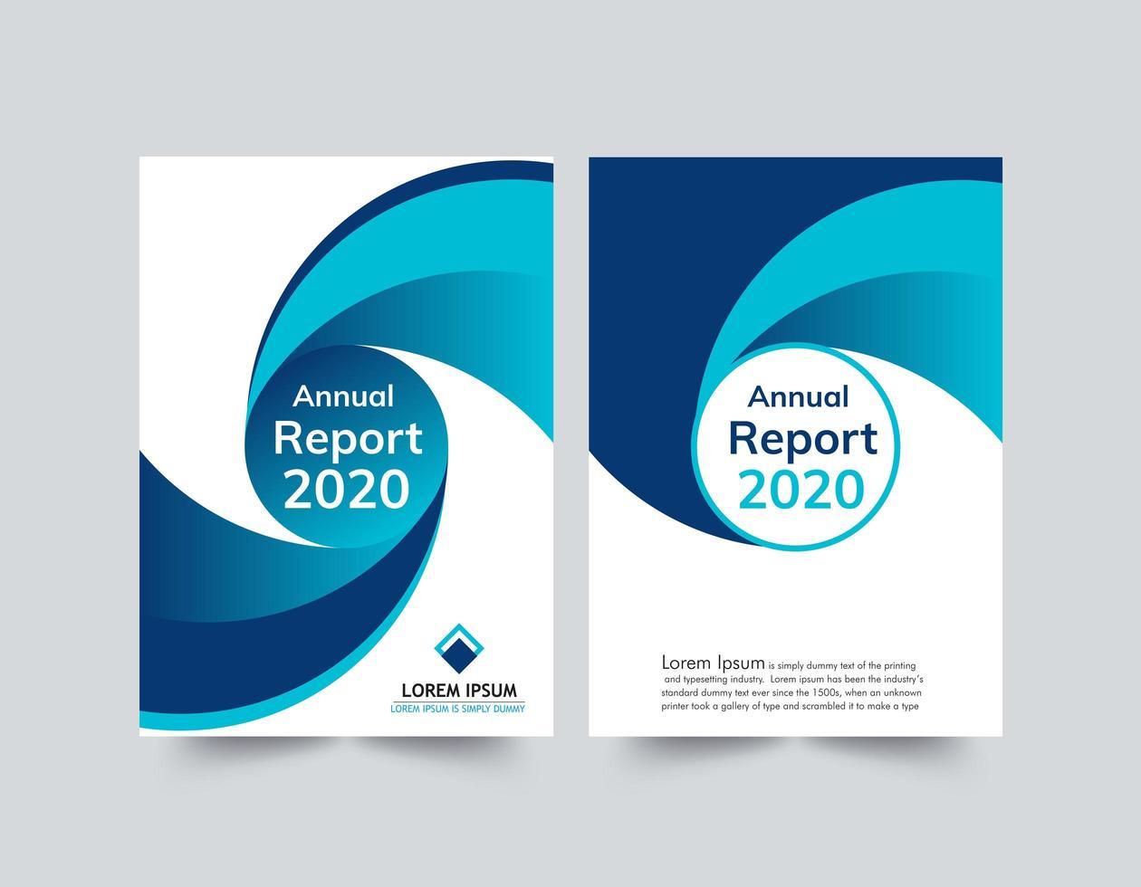 årsrapport blå och vit vågmall vektor