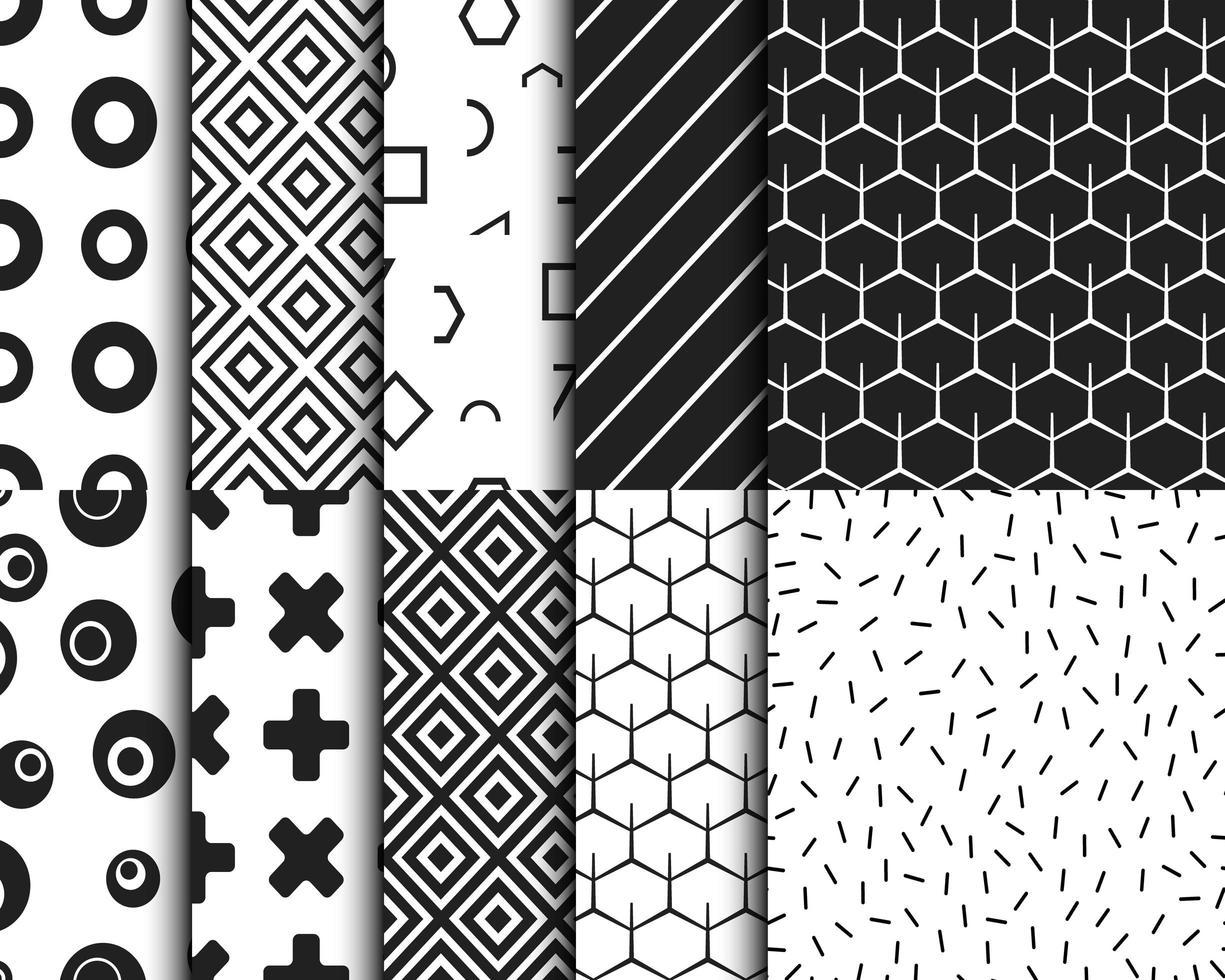 geometriska svartvita retro mönster set vektor