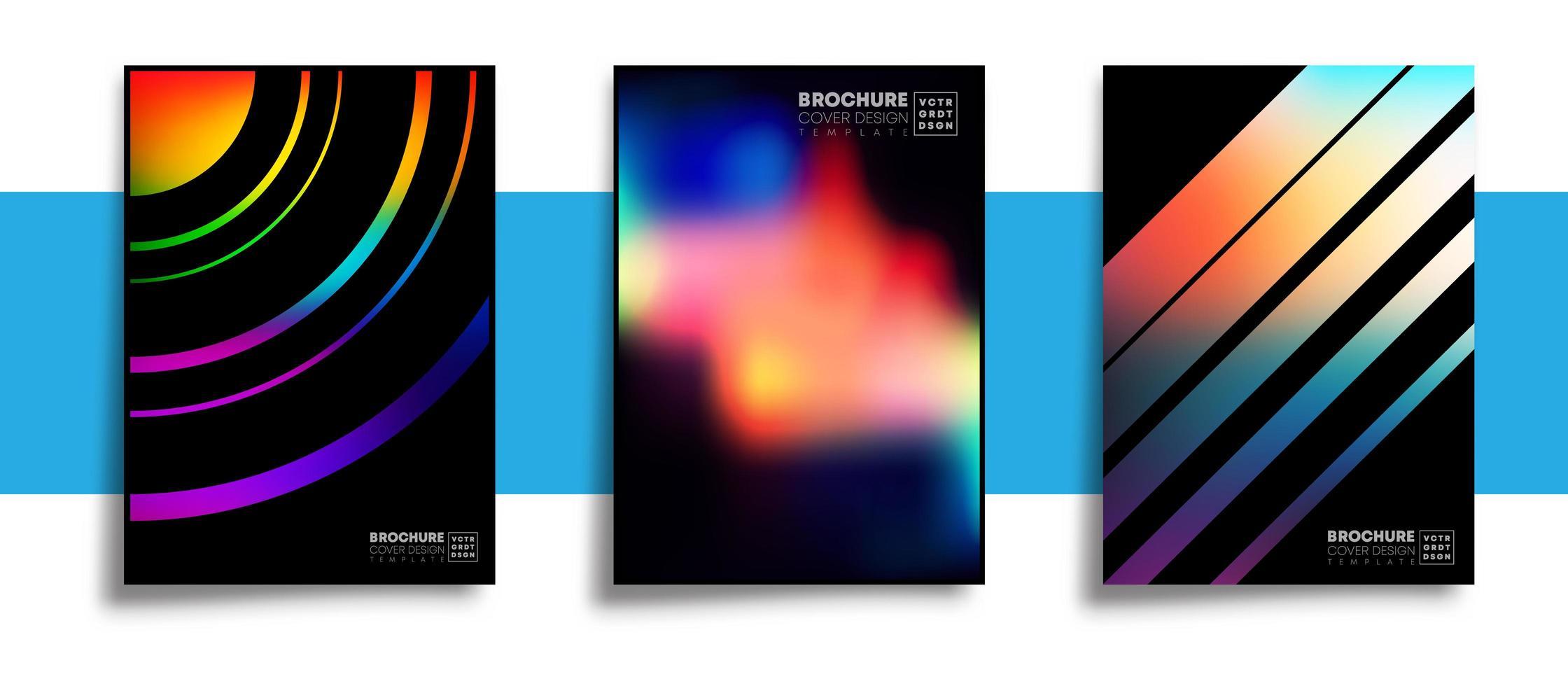 Satz abstrakte Designplakate mit bunten Farbverlaufstexturen vektor