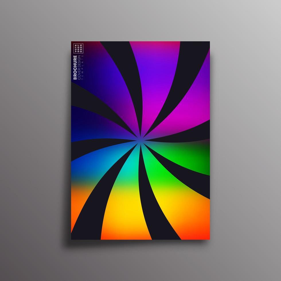 Retro bunte Farbverlauf wirbelnde Strahlen für Flyer, Broschüre vektor