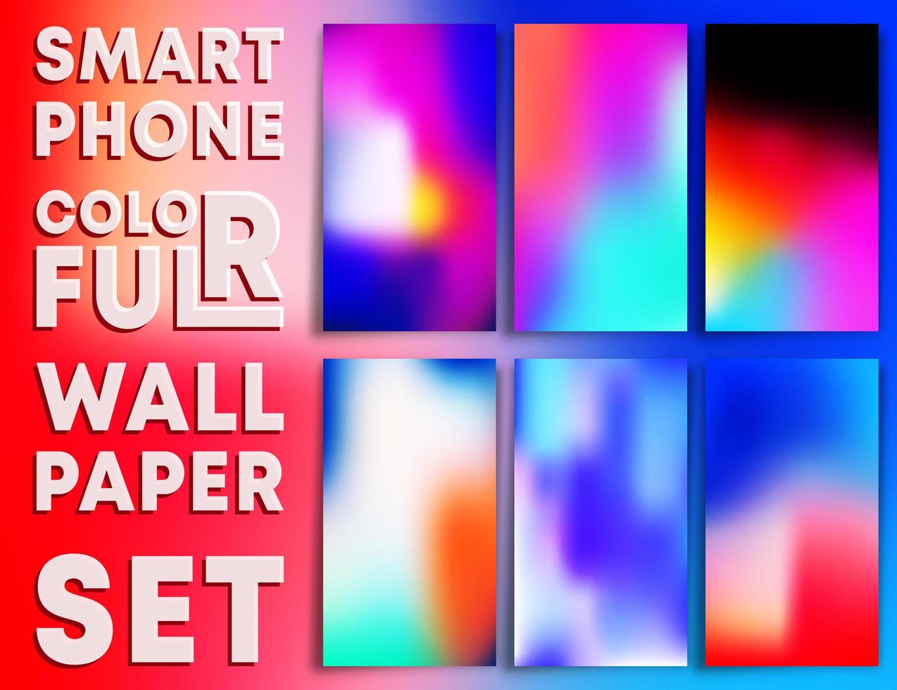 färgglada tonad tapeter mallar för smartphones vektor