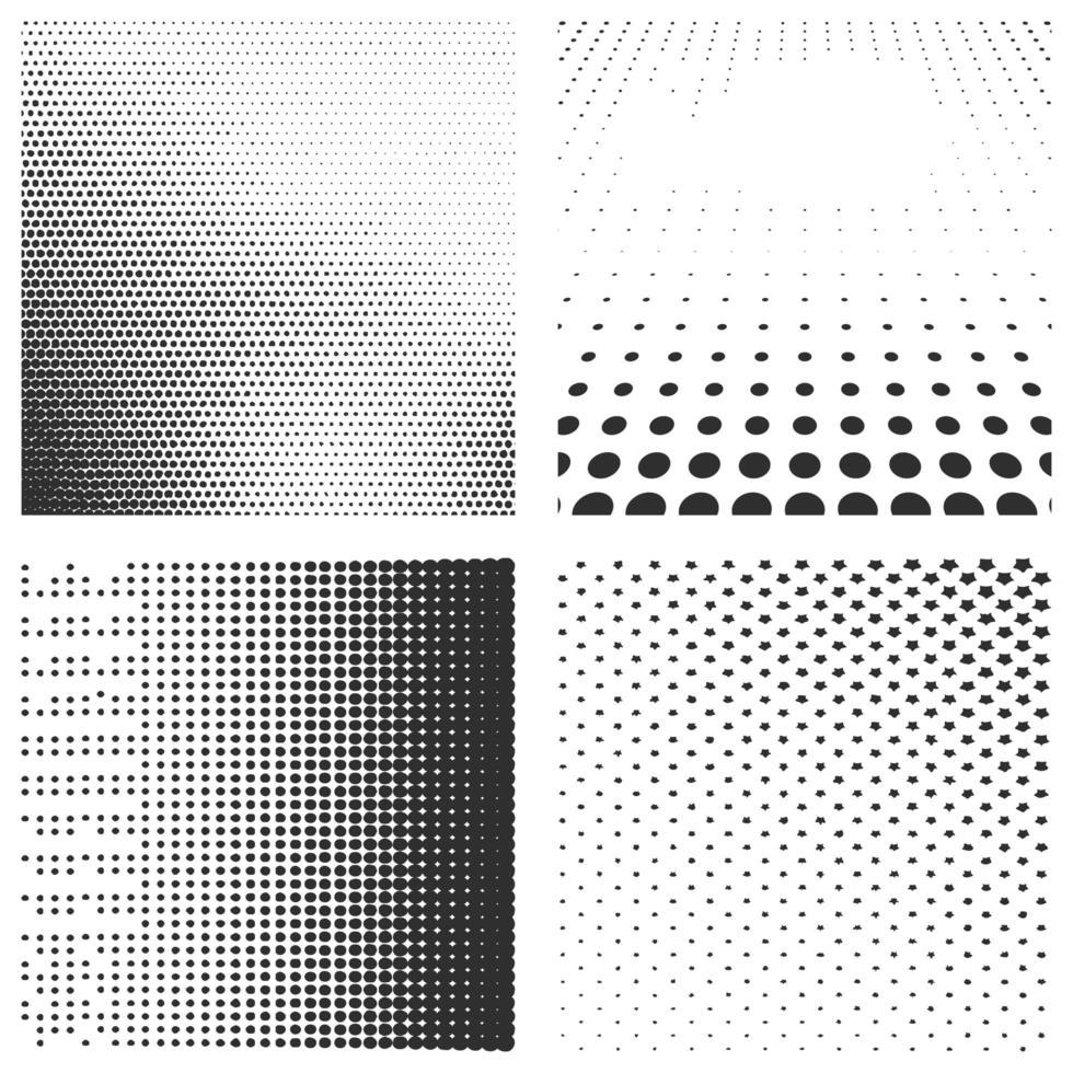 uppsättning halvton svarta mönster isolerad på en vit vektor