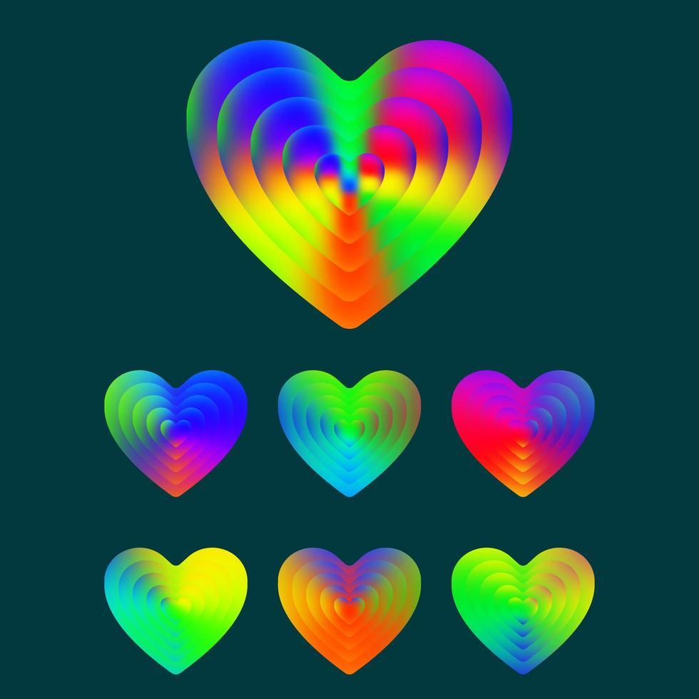 färgglada tonad textur hjärtan set vektor