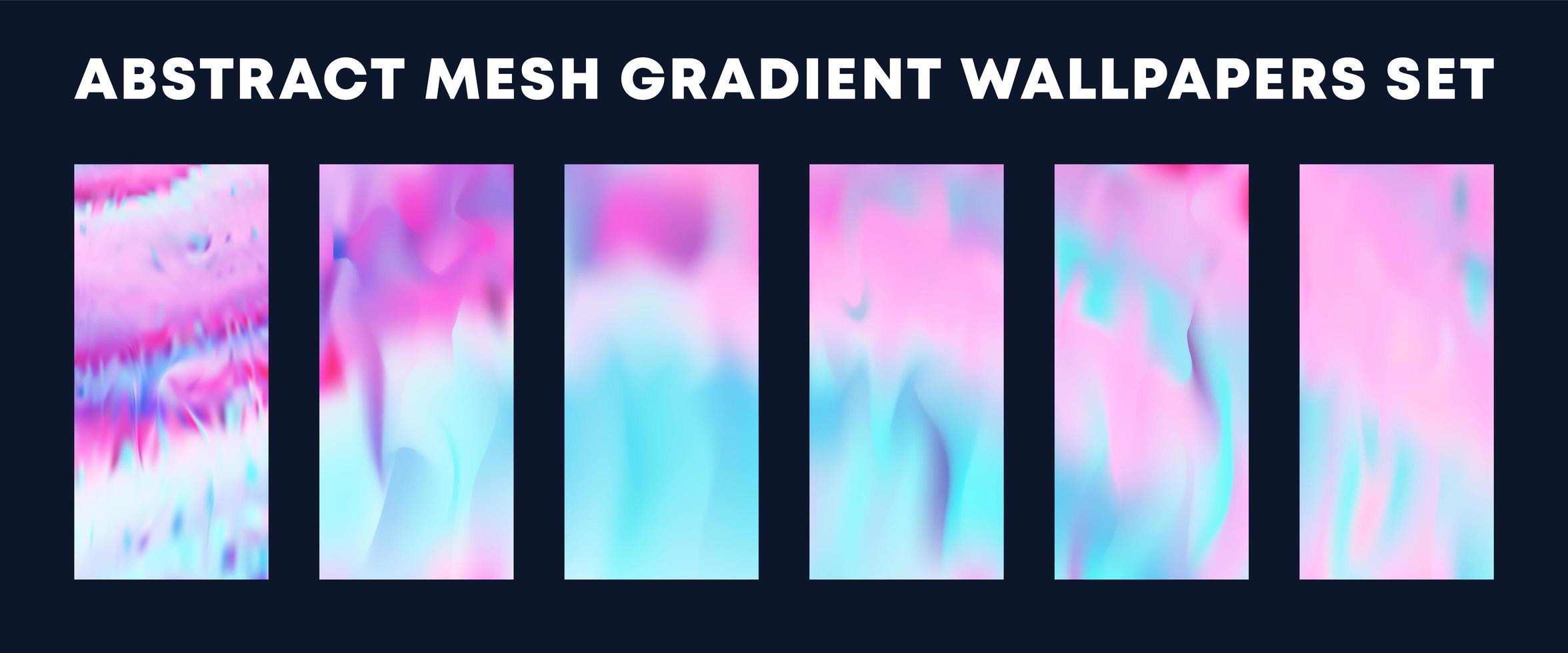 uppsättning av ljusrosa, blå mesh övertonings tapeter vektor
