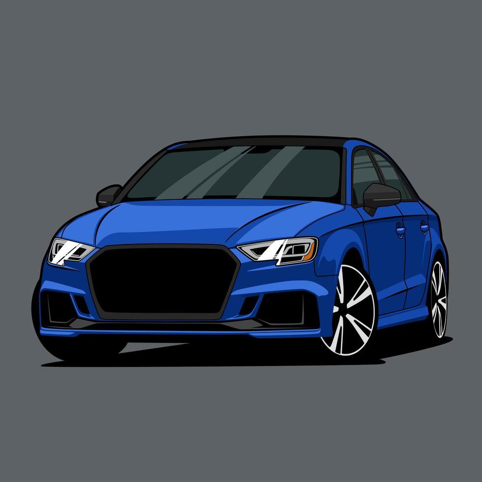 blå bil ritning vektor