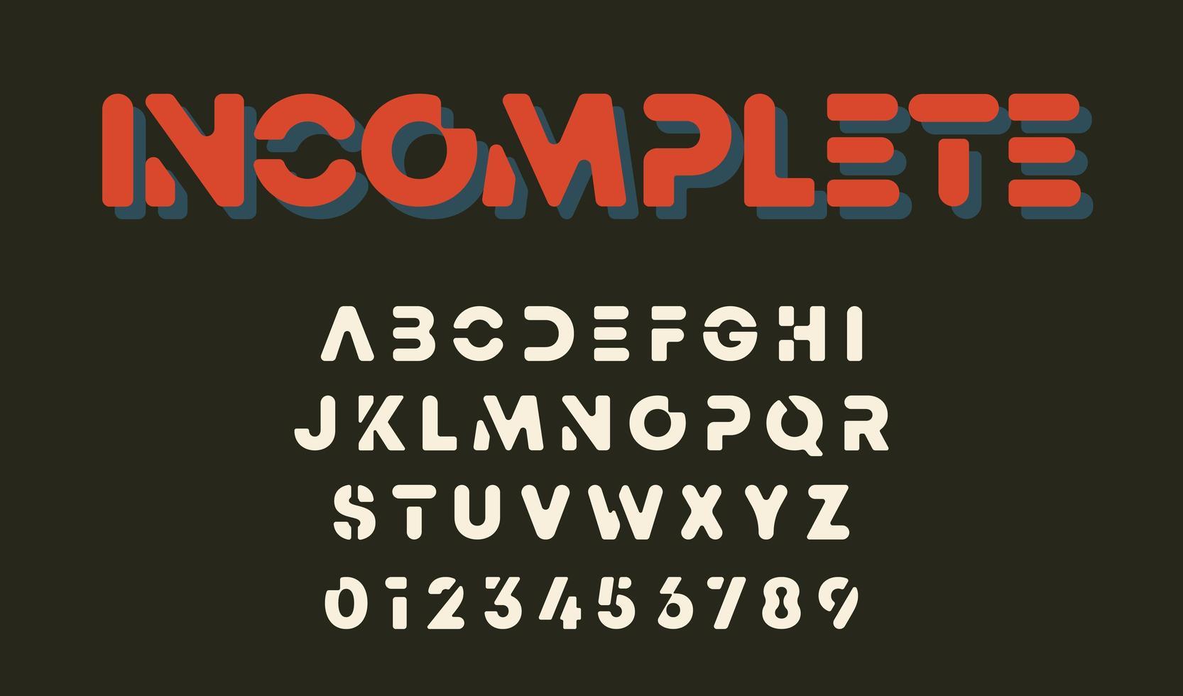 minimale Buchstaben und Zahlen unvollständiges Alphabet Design vektor