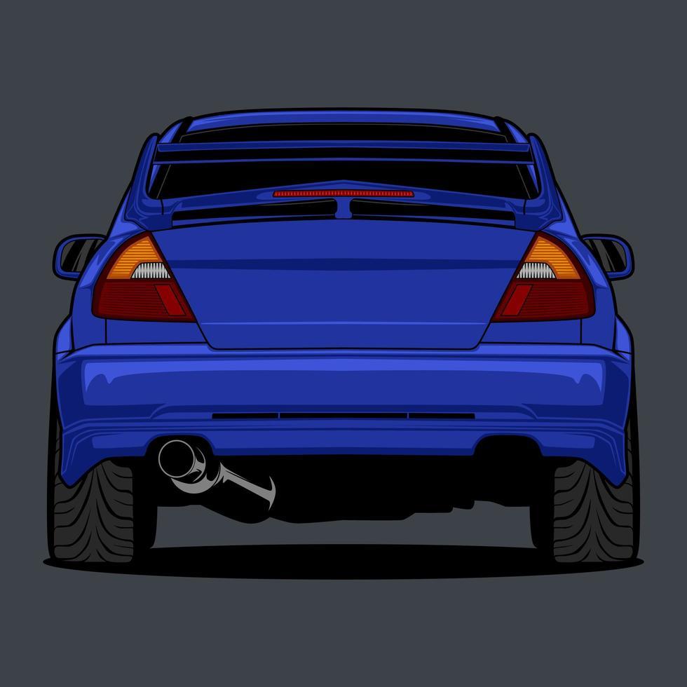 Rückansicht blaue Autozeichnung vektor