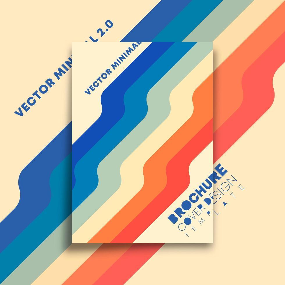 färgade linjer, minimal vintage design för flygblad, affisch, broschyr vektor