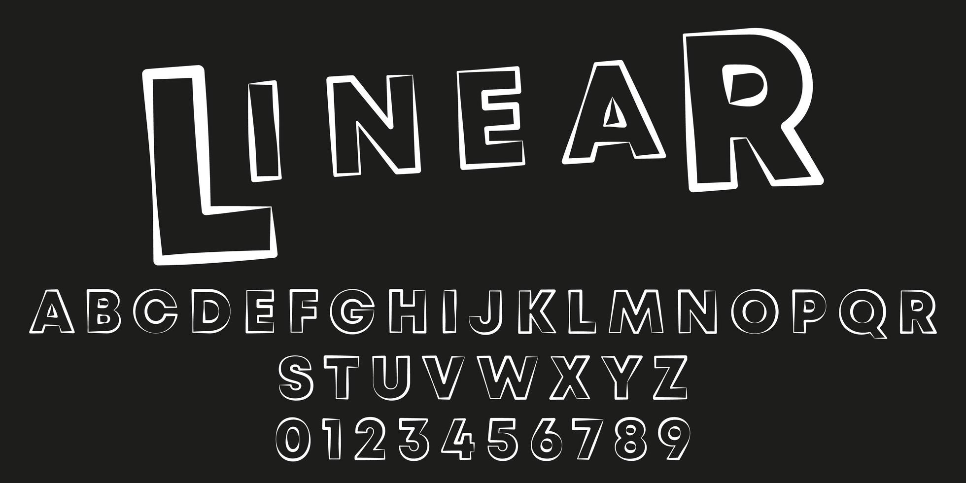 Stempelstrich lineare Schriftvorlage vektor