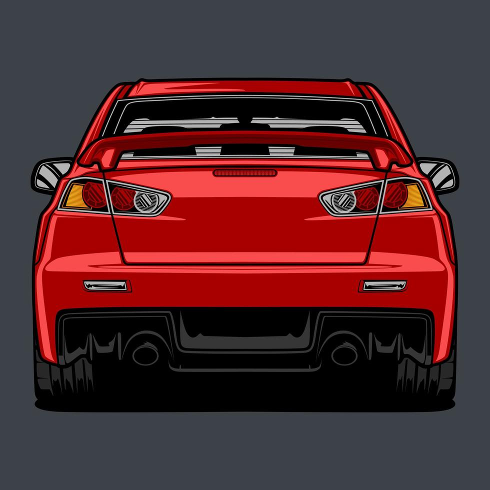 bakifrån röd bil ritning vektor