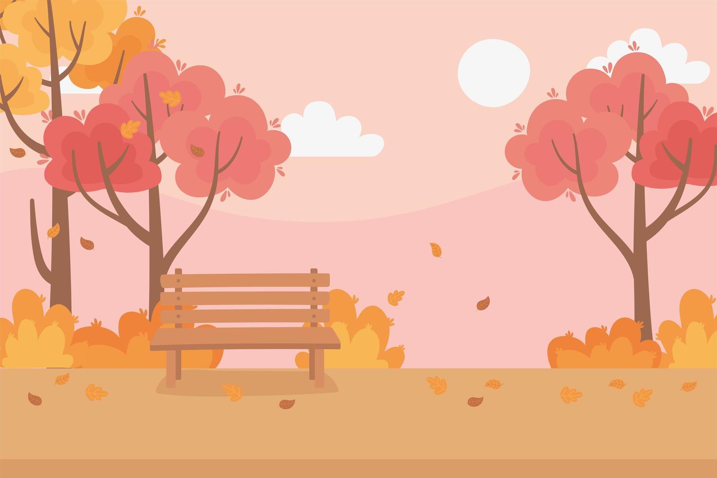 höstlöv, träd, ängnatur och parkbänk vektor
