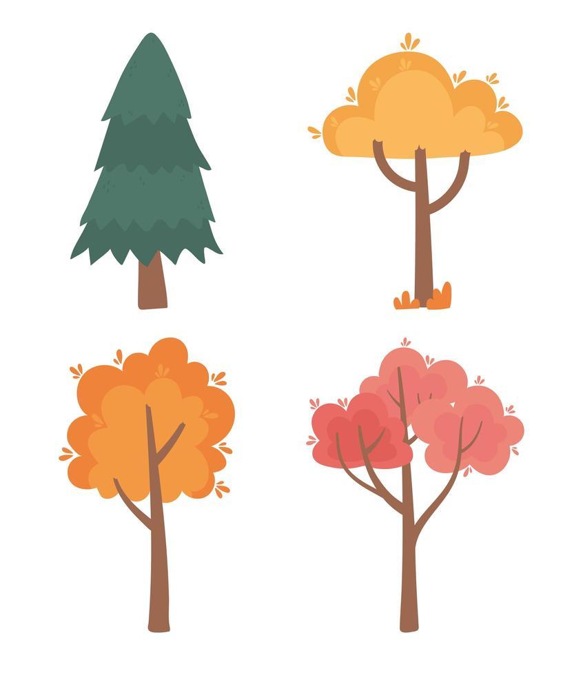 herbstliche Bäume Naturszenensymbole eingestellt vektor