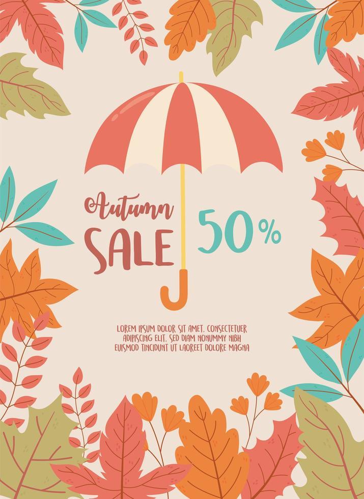 paraply och säsongslövverk. rabatt shopping försäljning vektor