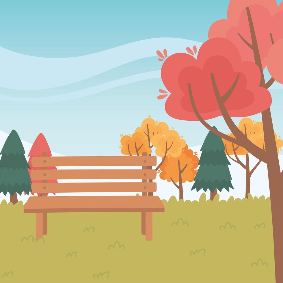 parkbänk, träd, naturligt gräs vektor
