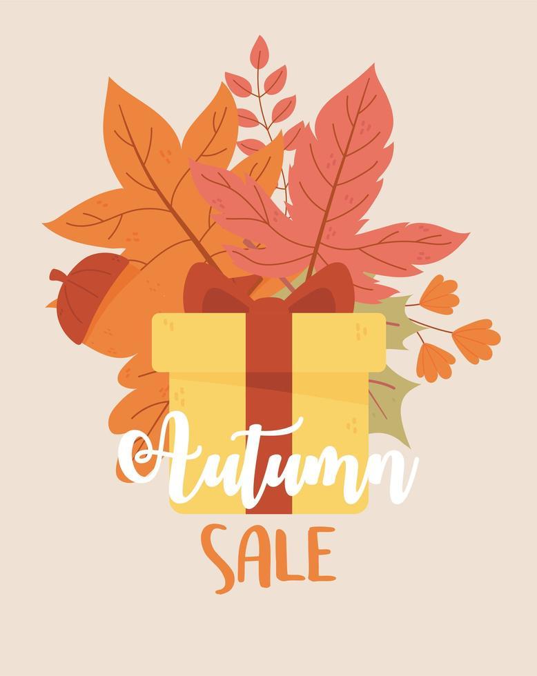 Herbstverkauf. eingewickeltes Geschenk, Ahornblätter und Eichel vektor