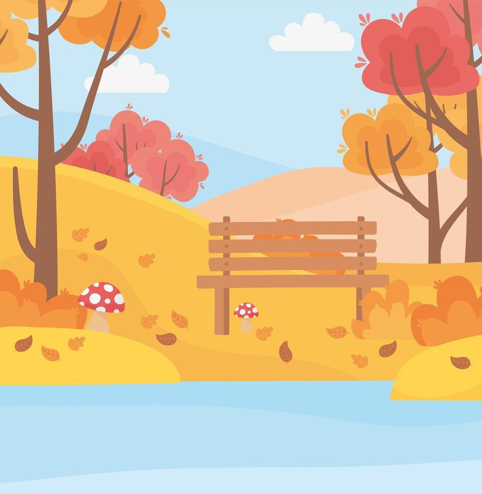 parkbänk, sjö, svamp, träd och löv vektor