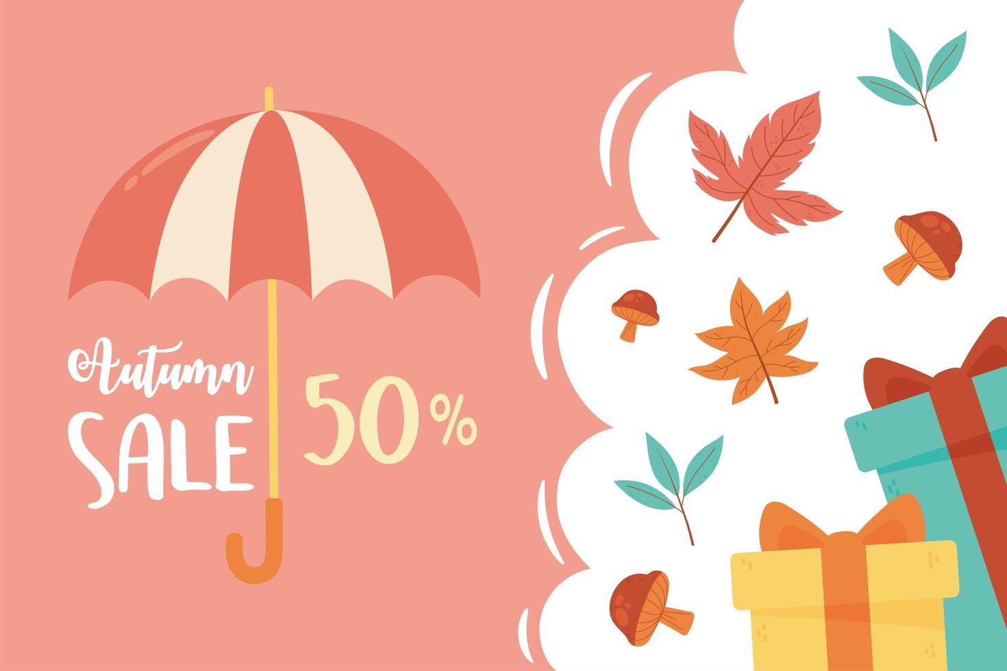 rabatt, paraply, gåvor och säsongsblad vektor