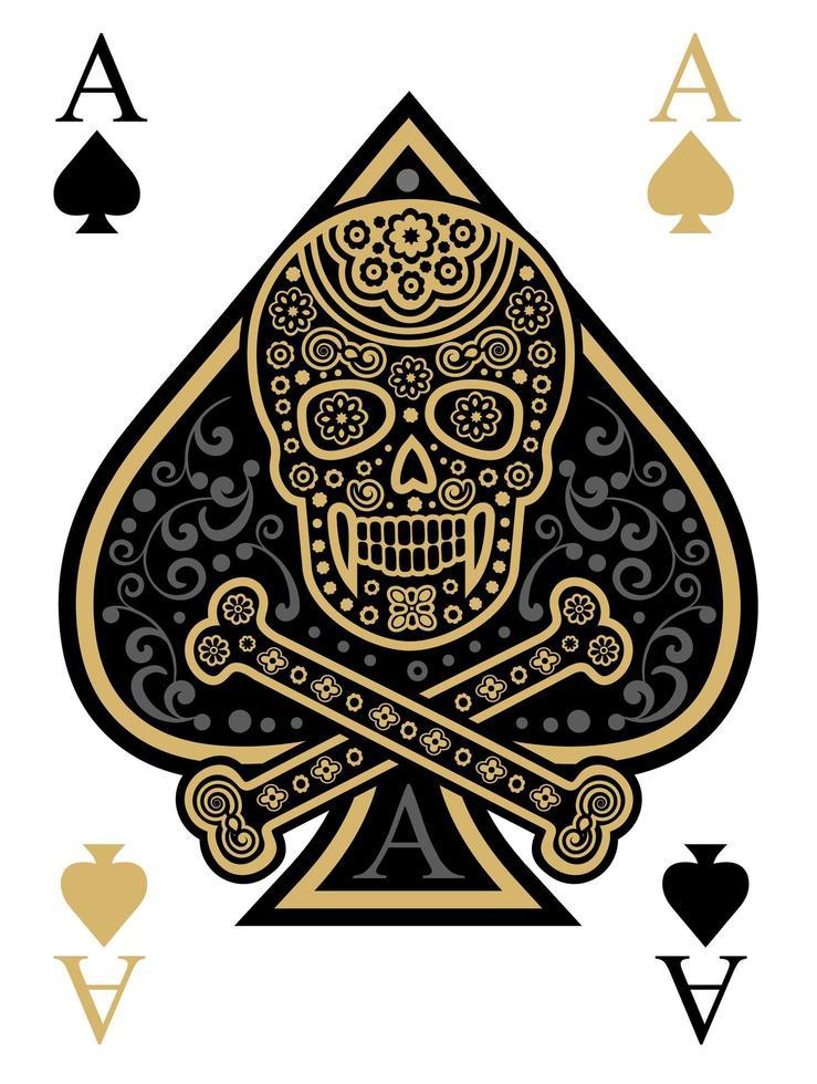 Pik-Ass-Spielkarte mit Schädel vektor