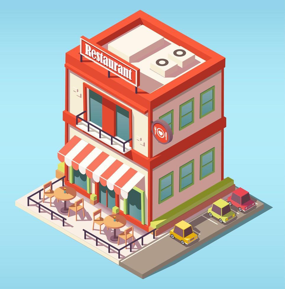 isometrisk restaurangbyggnad vektor