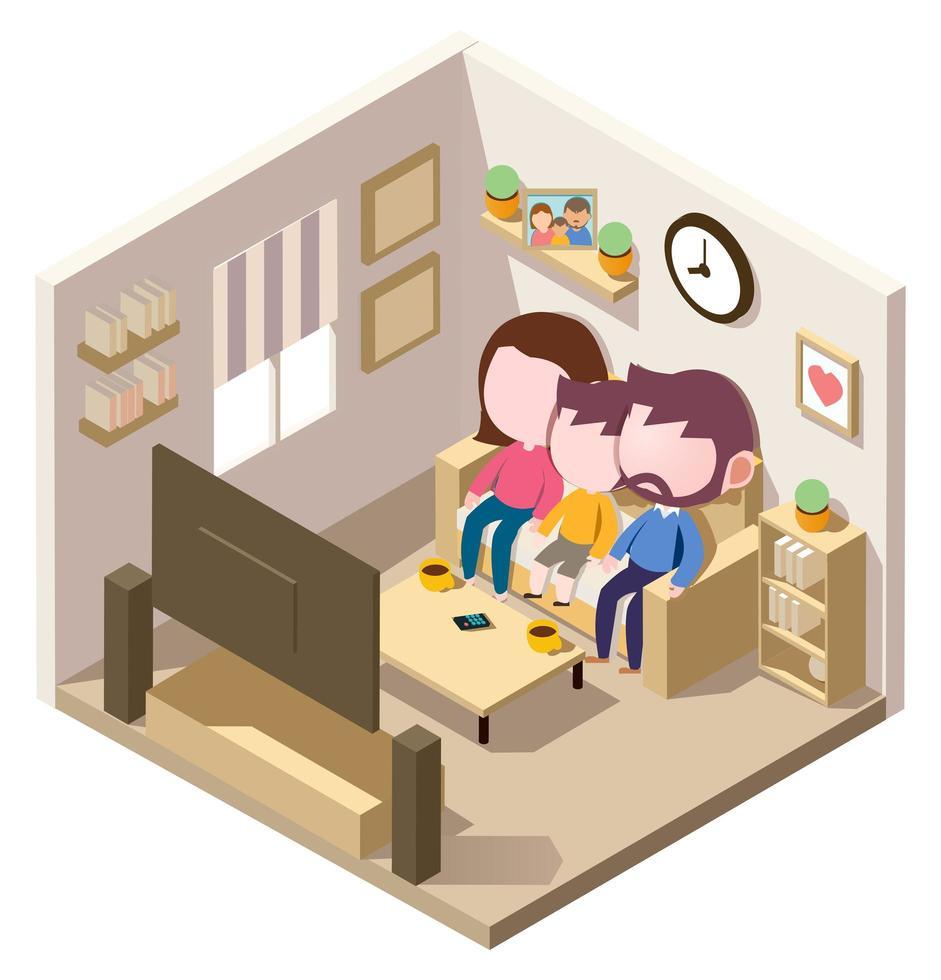 isometrisk familj som tittar på tv i vardagsrummet vektor