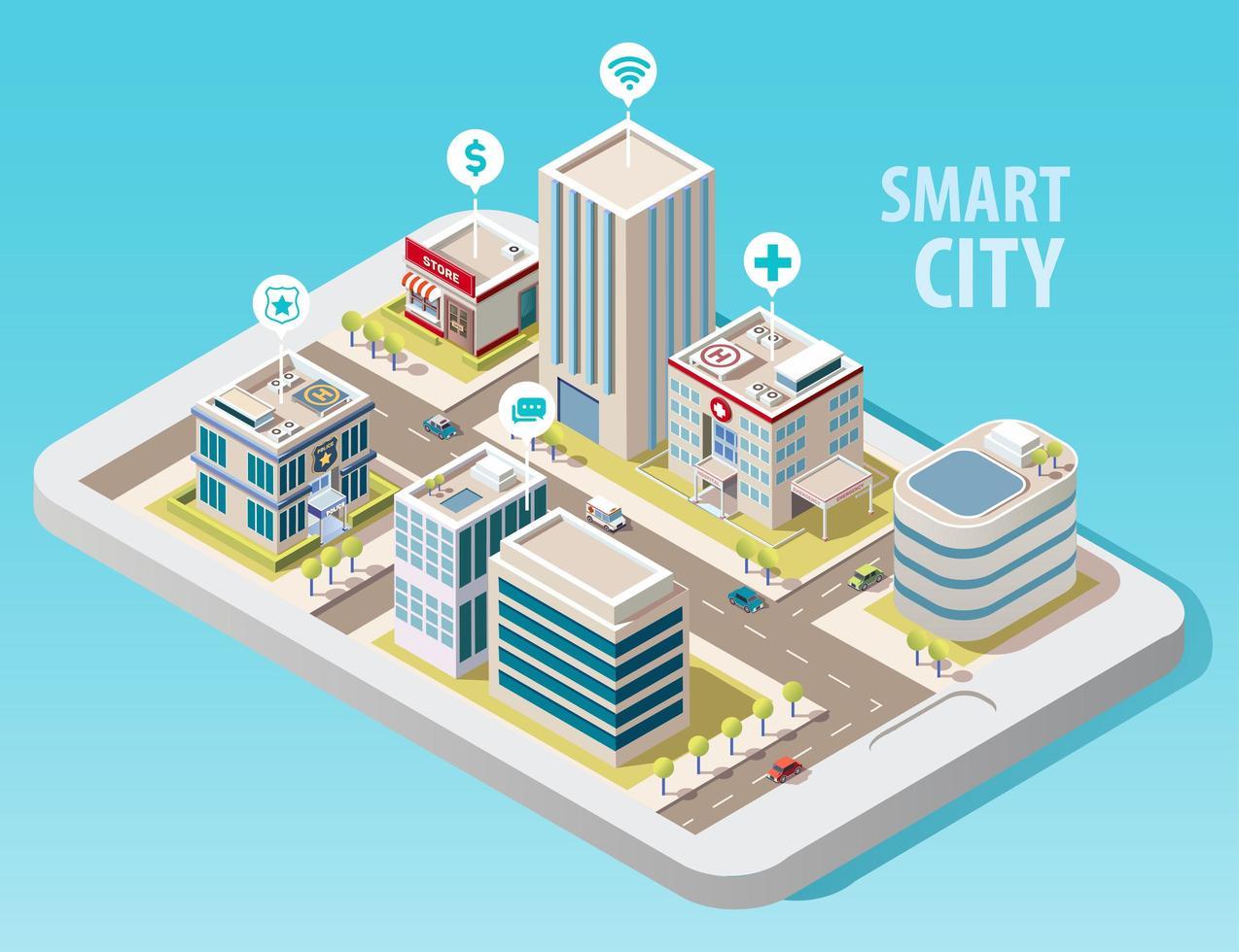 isometrisk smart stad vektor