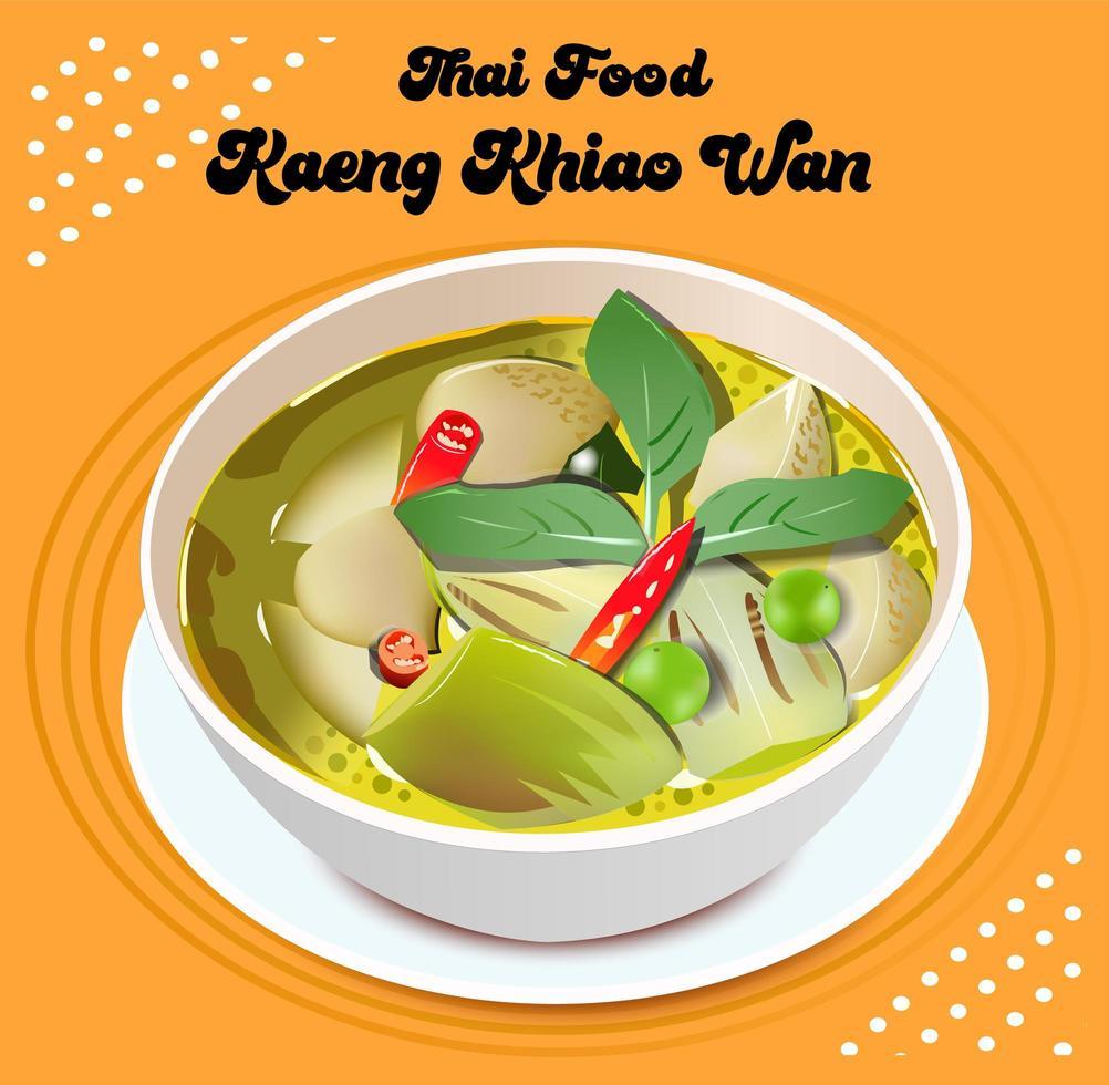 kaeng kaew wan thailändsk mat vektor