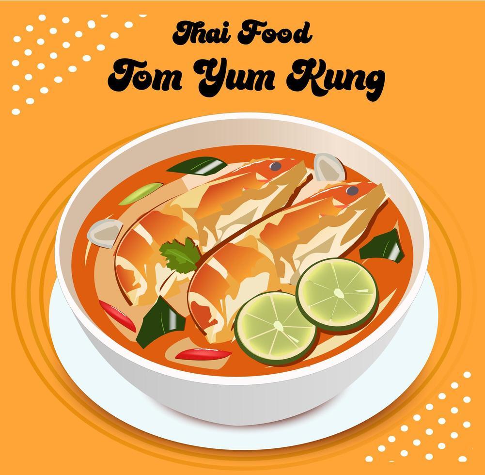 tom yum kung thailändsk mat vektor