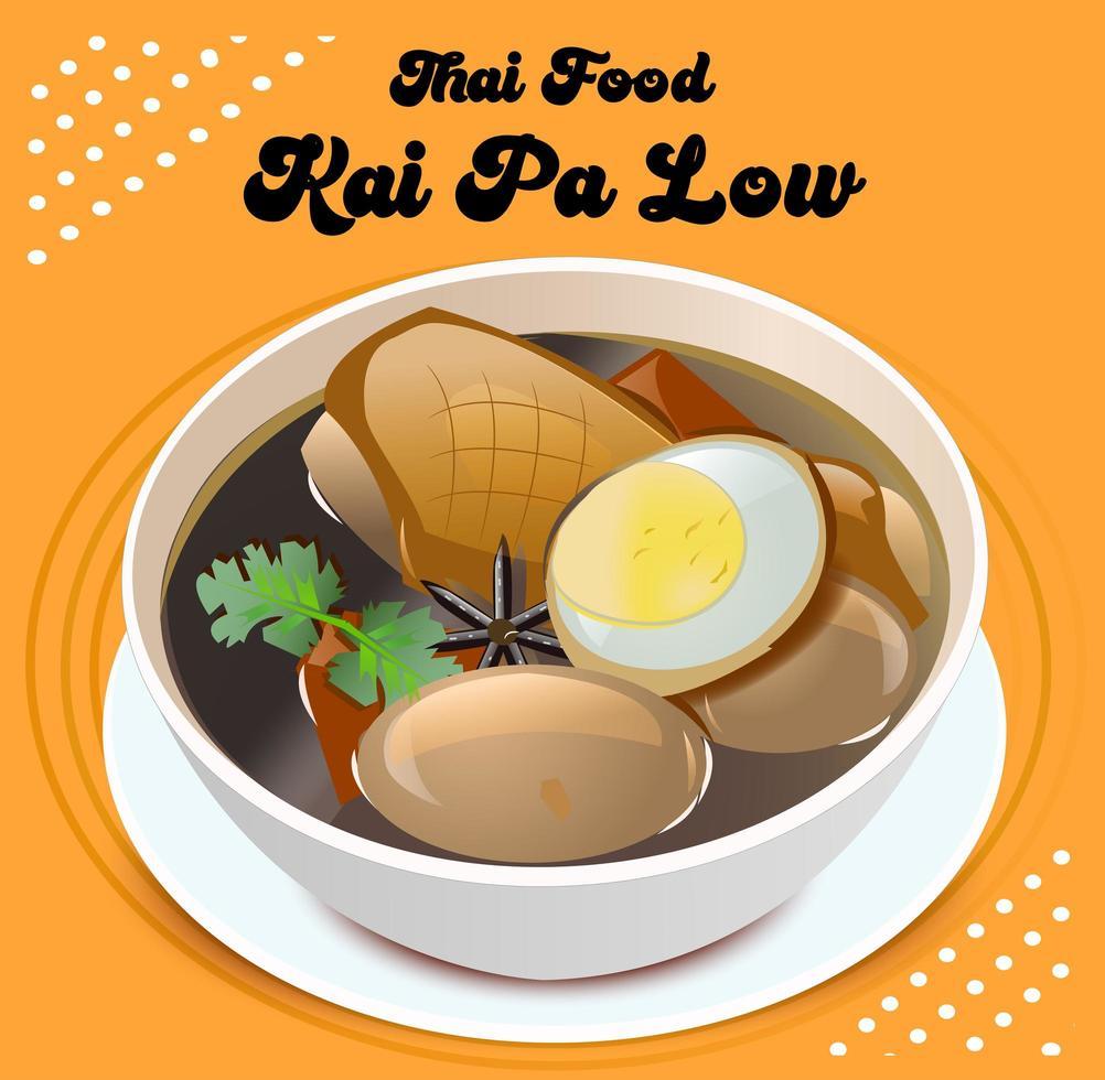 kai pa låg thailändsk mat vektor