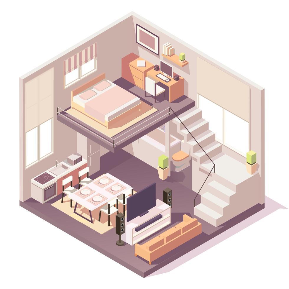 isometrisches Haus verschiedene Raumzusammensetzung vektor