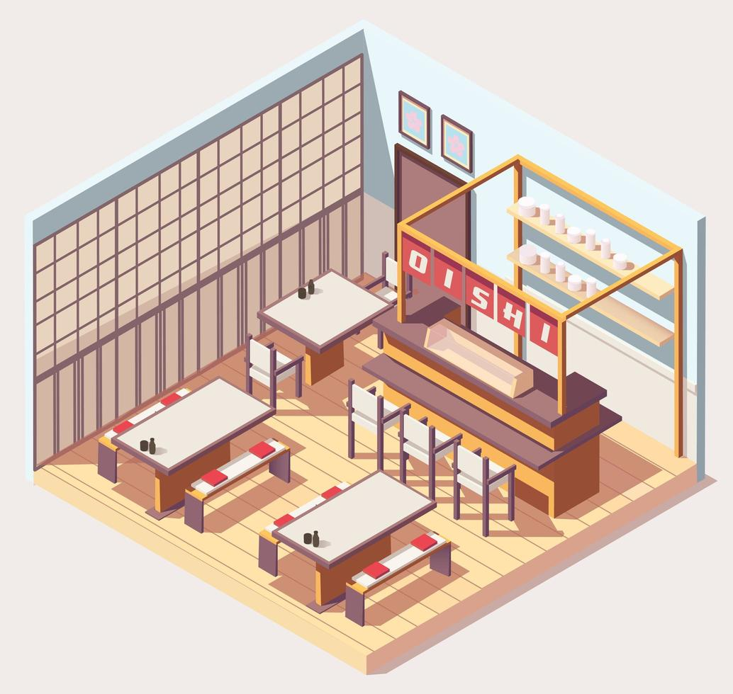 isometrisk japansk matbutik eller restaurang vektor