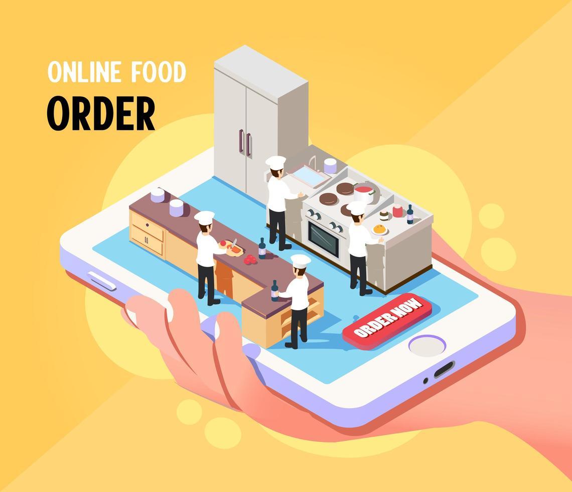 isometrisches Online-Bestellkonzept für Lebensmittelbestellungen vektor