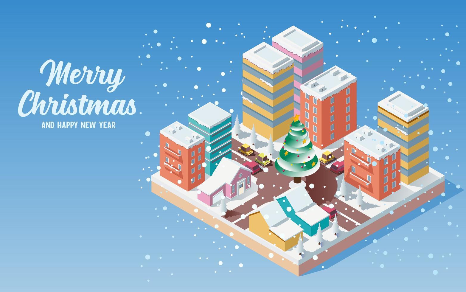isometrische niedliche Weihnachtsstadt mit fallendem Schnee vektor