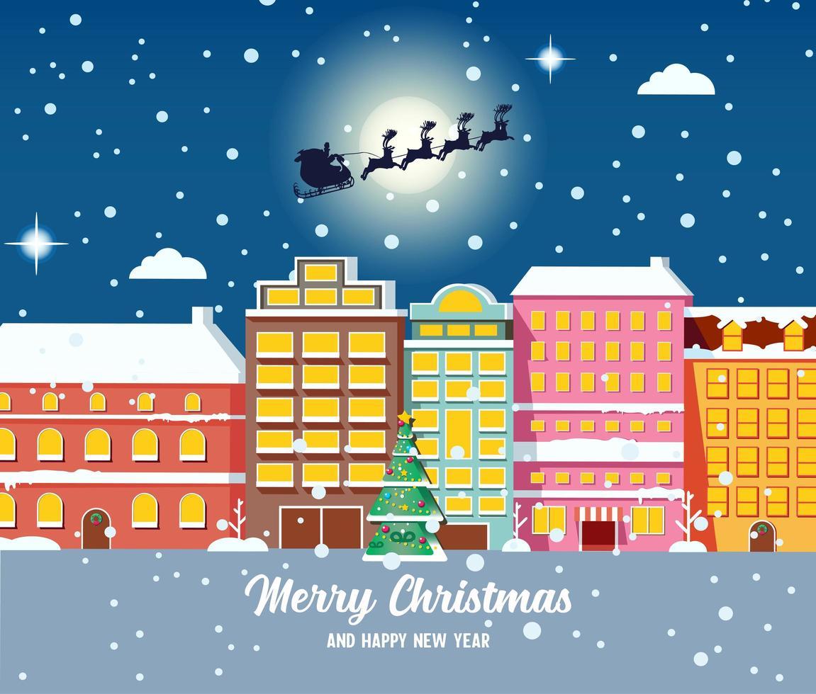 jul stadsbild med jultomten som flyger i släde vektor