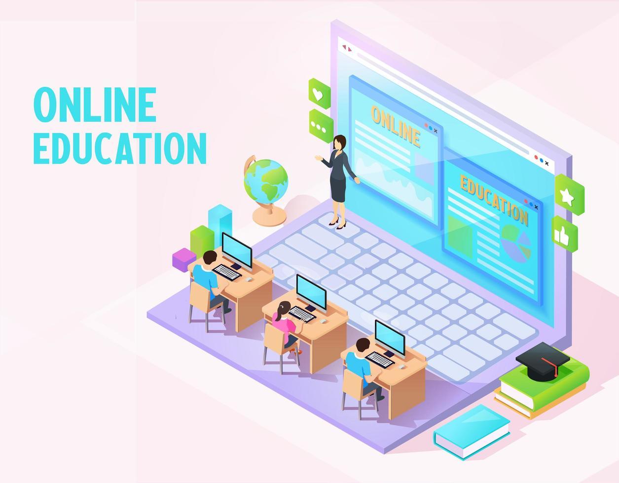 online-utbildning isometrisk koncept vektor