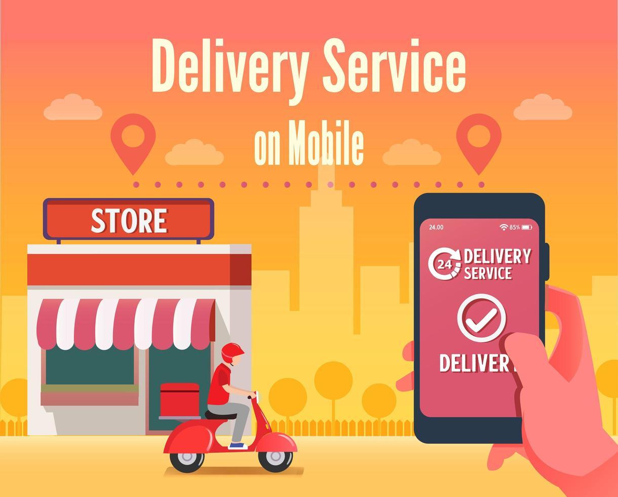 skoter mobil leverans servicekoncept vektor