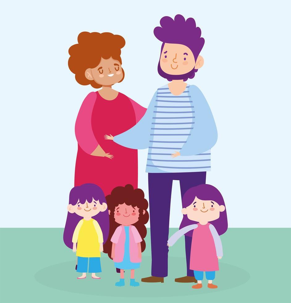 Mutter Vater und Töchter vektor