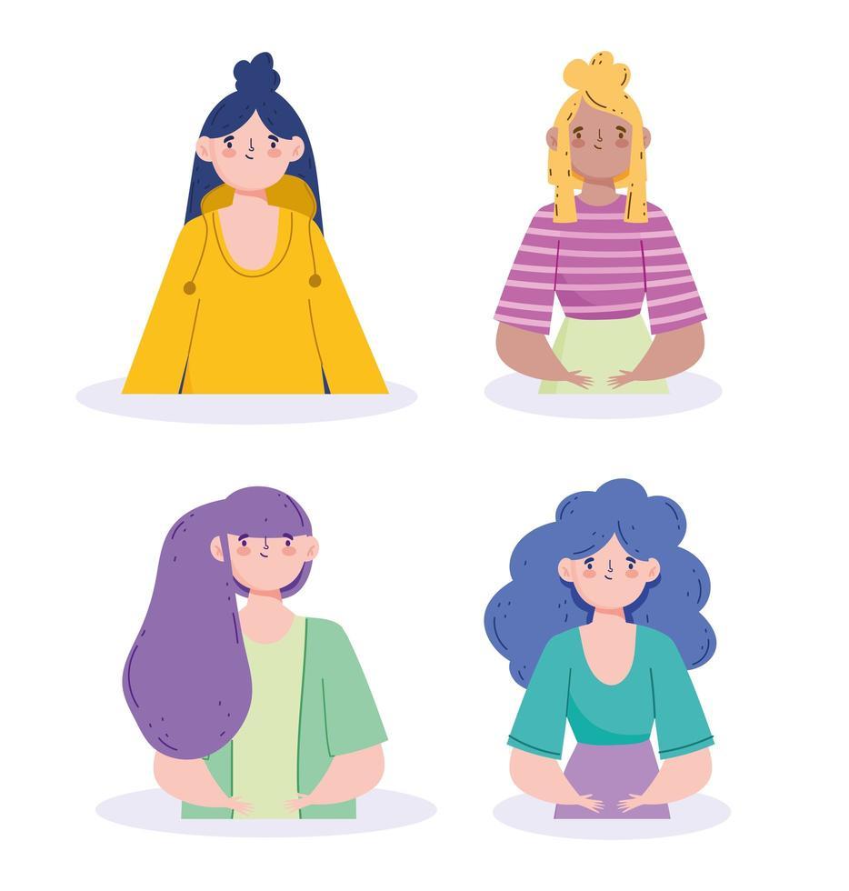 kvinnor avatarer set vektor