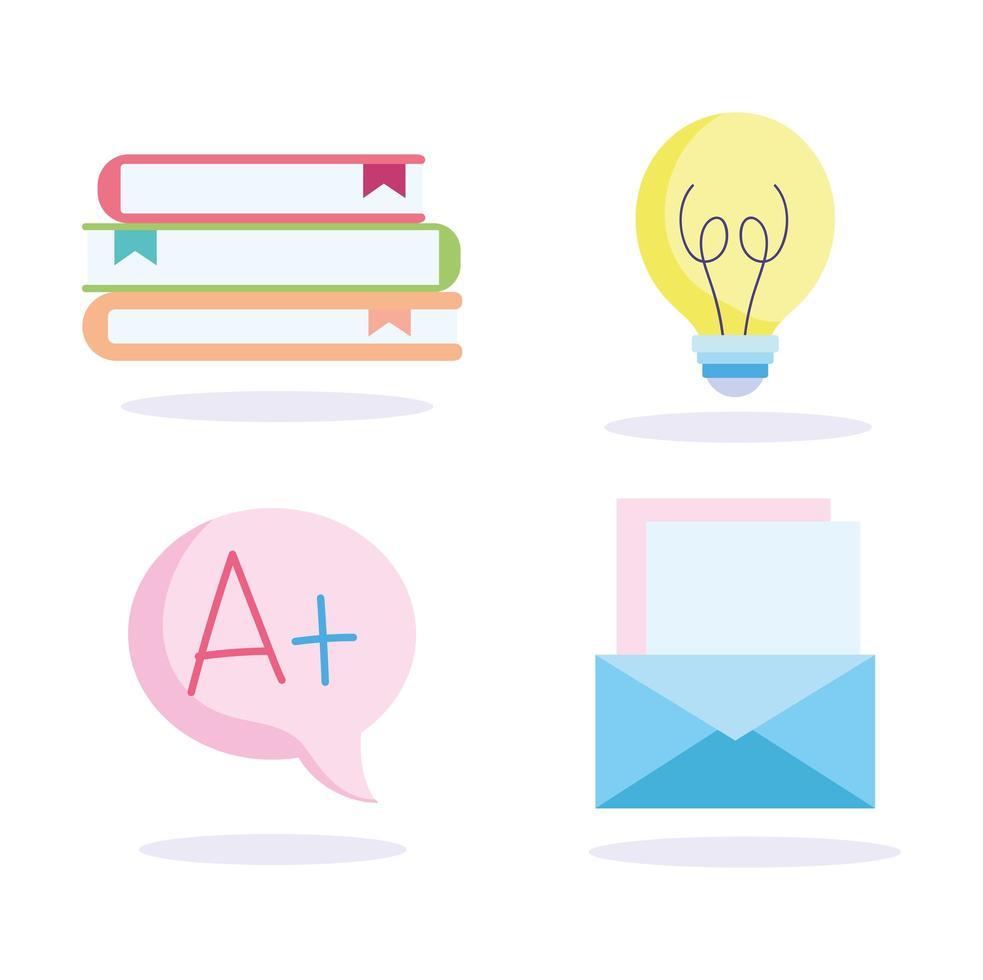 Stapel Bücher, Brief, Glühbirne, Grade Icons vektor