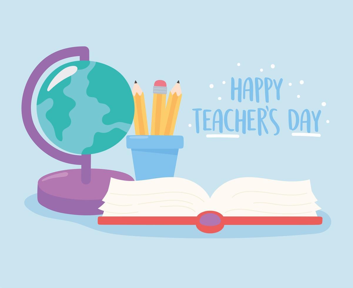 lärares dagdesign med förnödenheter vektor